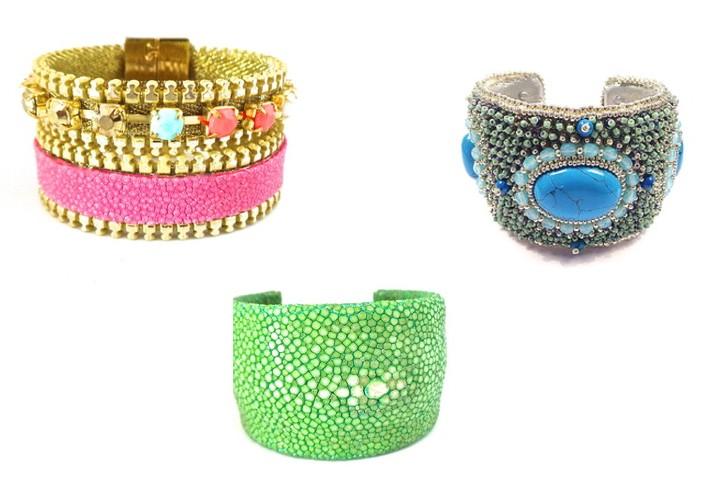 bracelets cuir galuchat rose, vert avec perles et strass