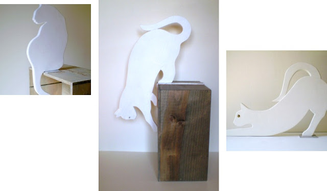 sculpture en bois chat blanc