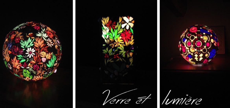 lampes mosaïque avec pierres semi précieuses