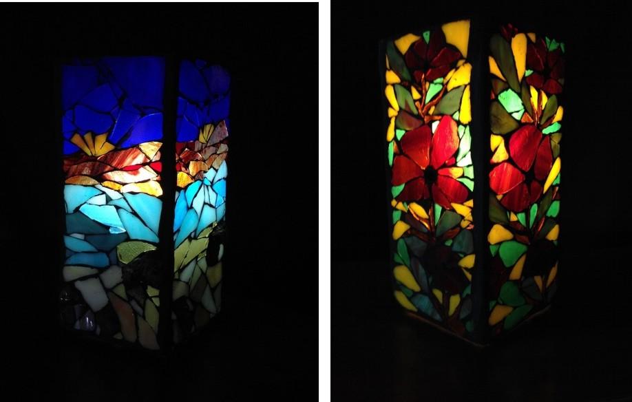 lampe mosaïque fleur vitrail