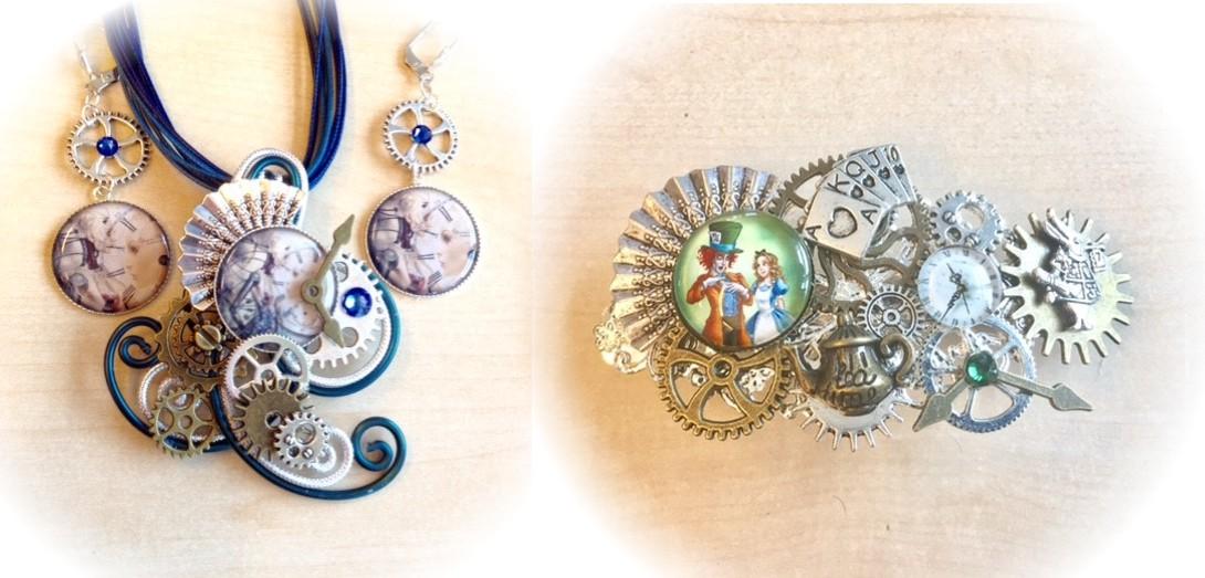 collier original rouage de style steampunk