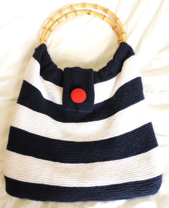 sac avec anses rayée style marinière