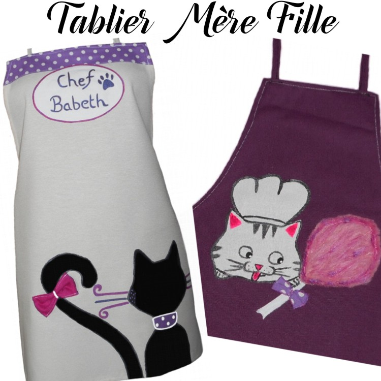 tabliers maman fille chat