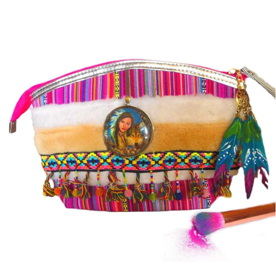 jolie trousse à maquillage motif ethnique indienne