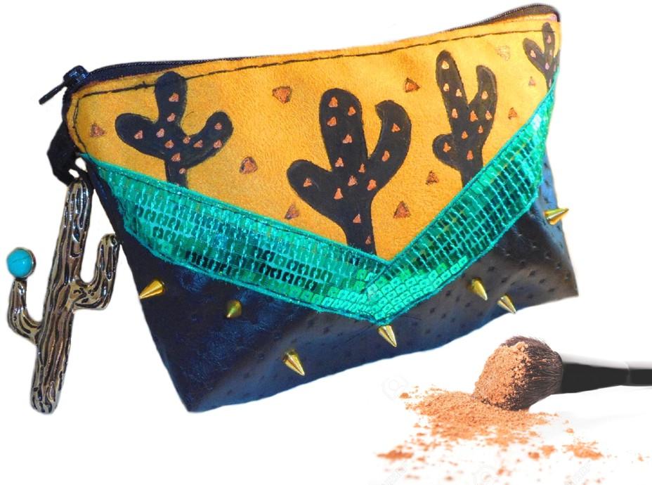 trousse originale maquillage motifs cactus