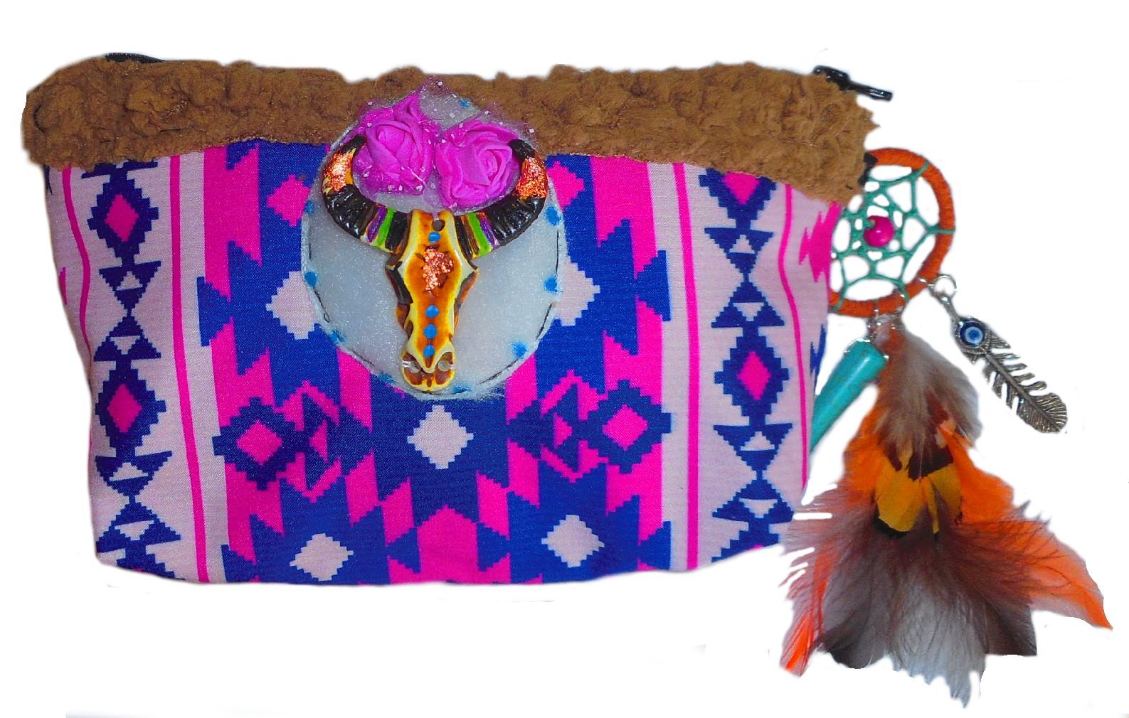 trousse maquillage hippie boho chic avec fourrure