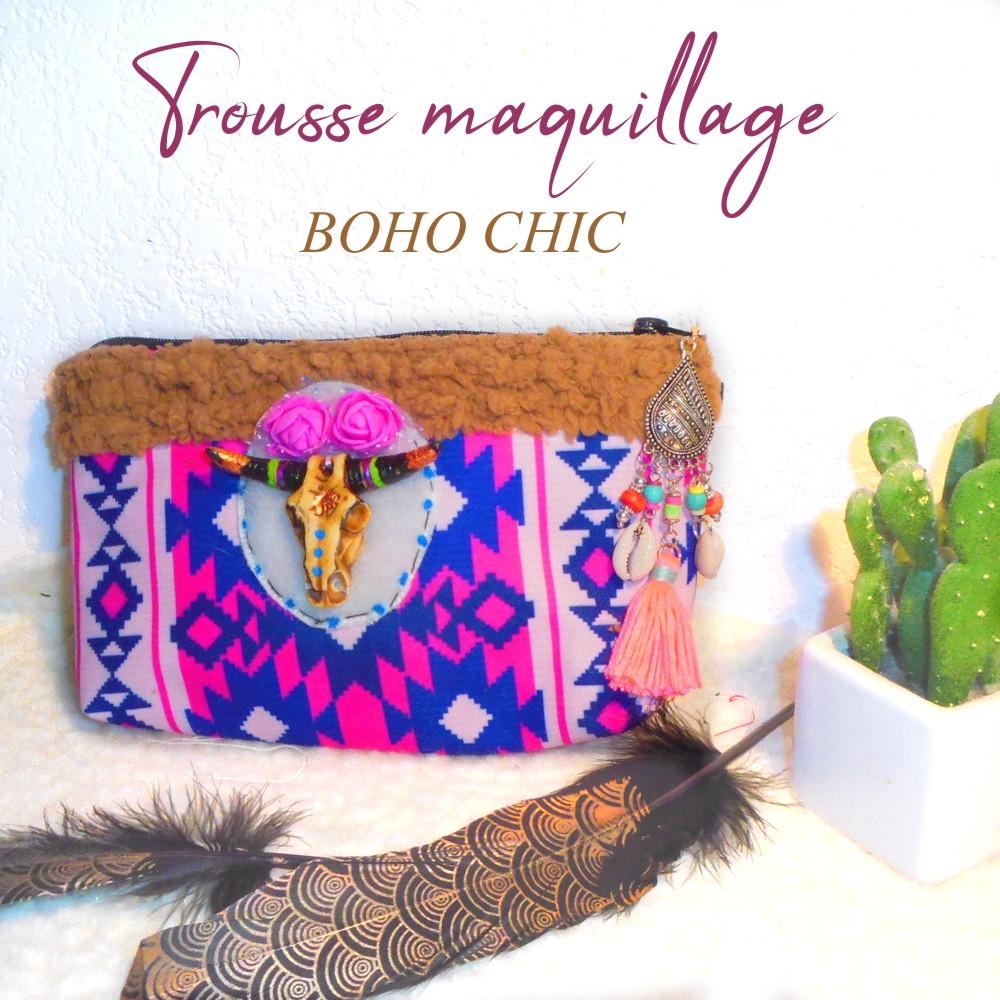 trousse maquillage motif ethnique style boho chic