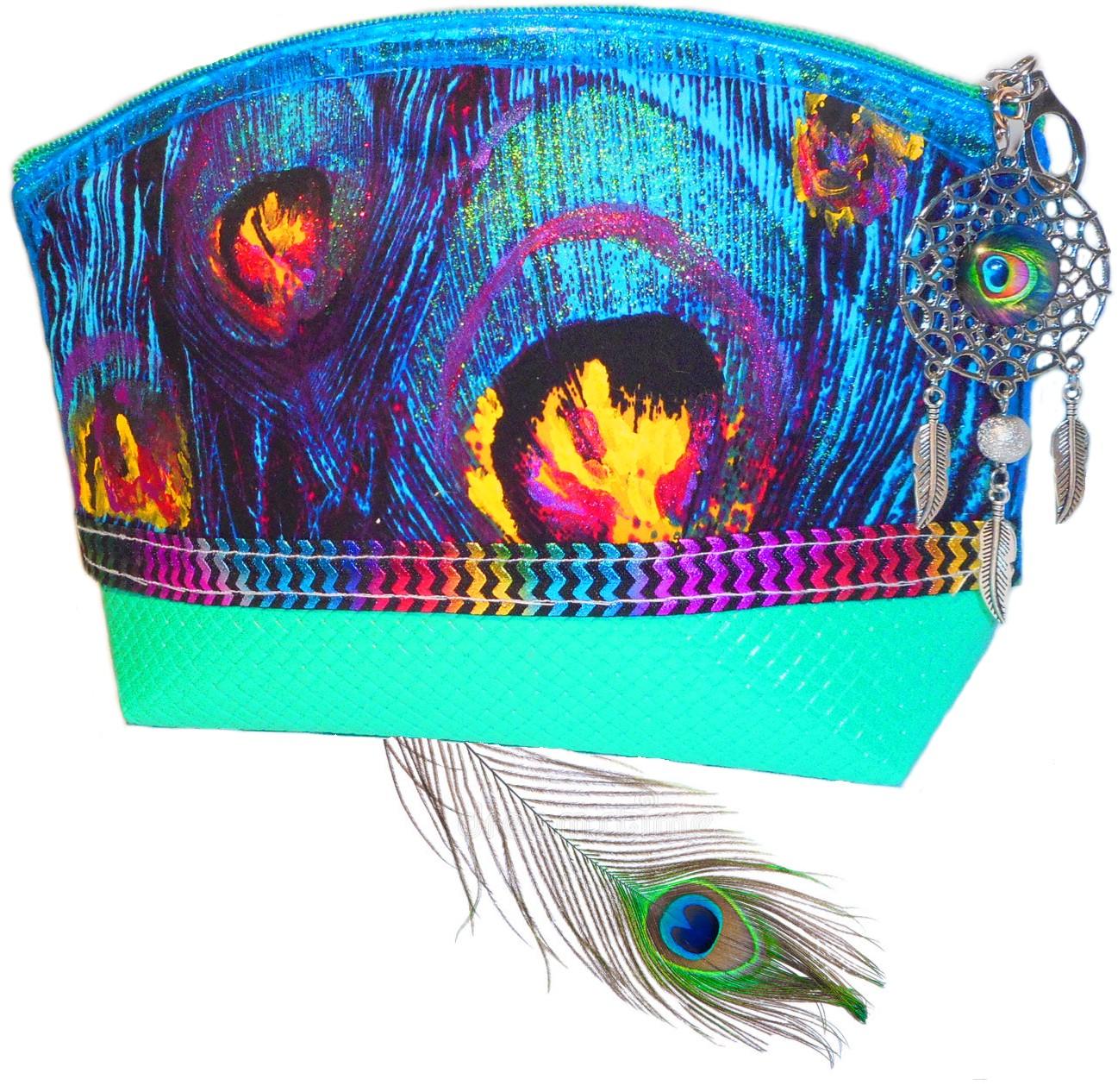 trousse maquillage turquoise plume de paon avec attrape rêve