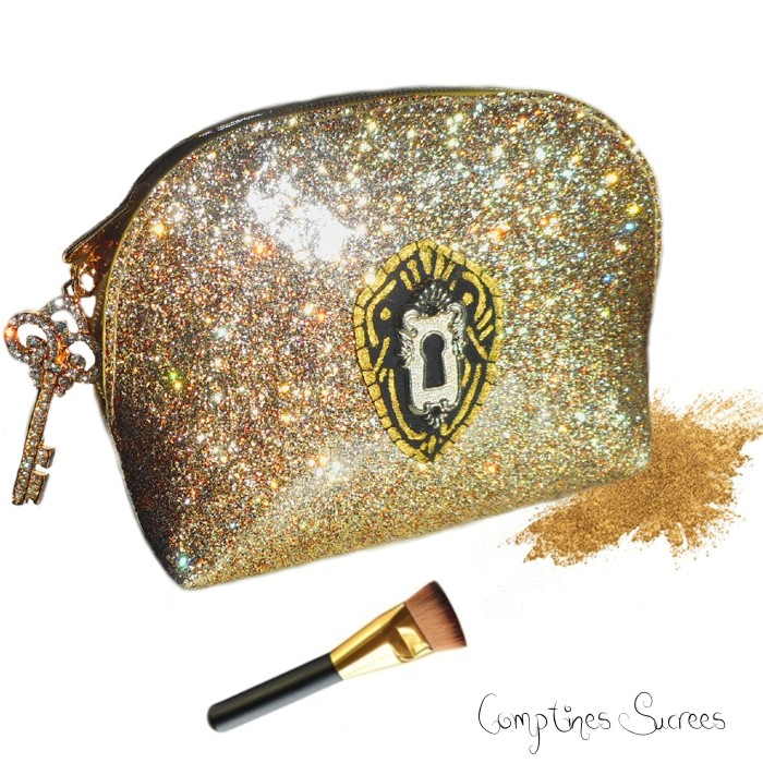 trousse maquillage dorée, or, glitter originale