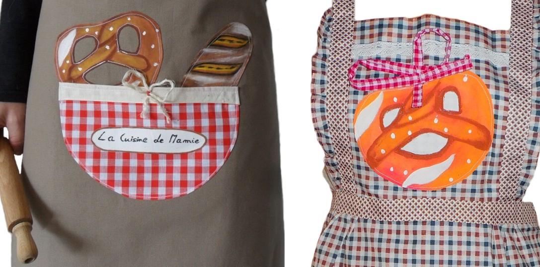 tablier de cuisine style campagne avec motif bretzel