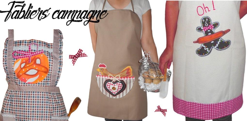 Des tabliers de cuisine de style campagne rustique