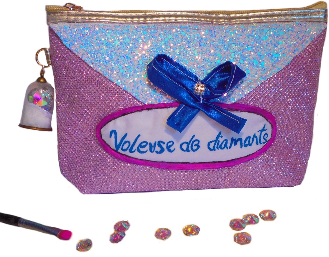 trousse maquillage rose pailletée glitter originale