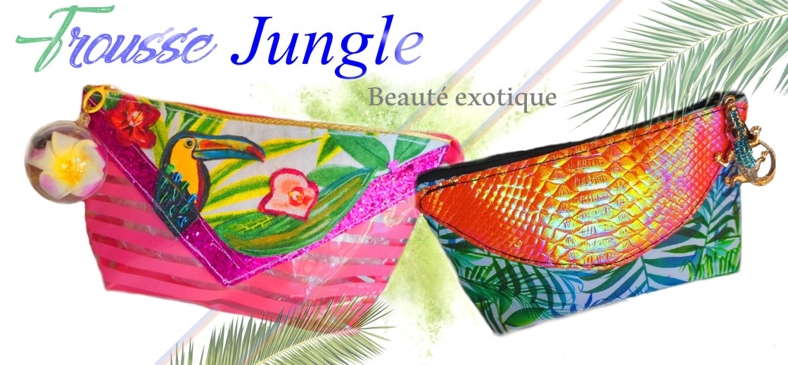 trousses maquillage motif jungle exotique