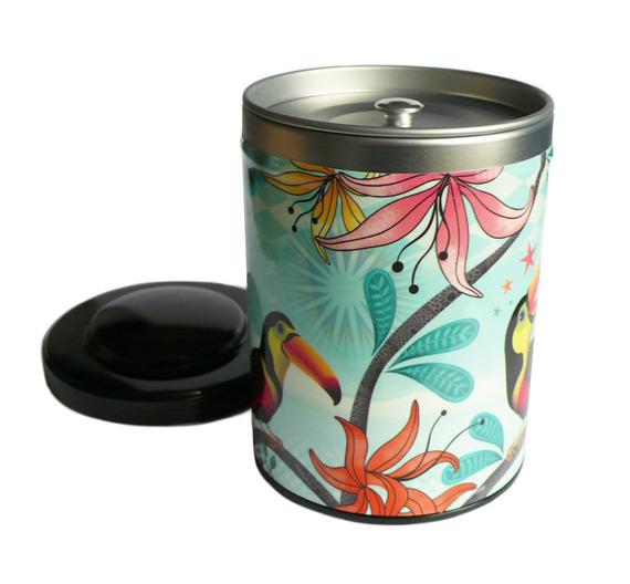 boite à thé tropicale avec toucan