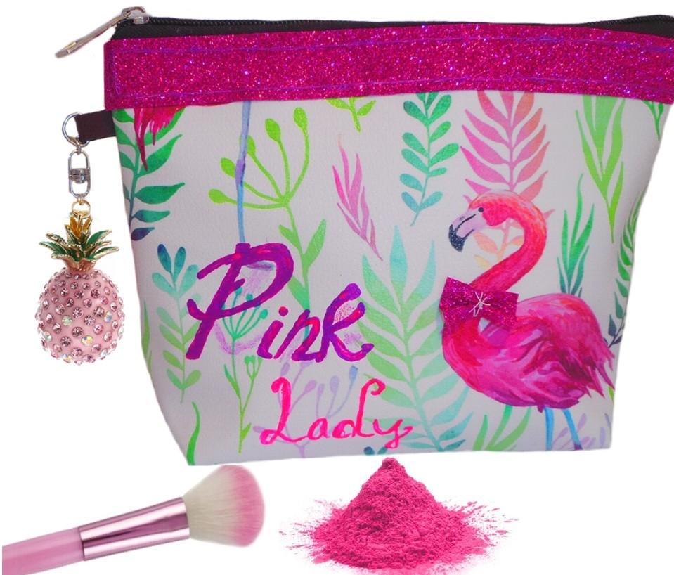 trousse maquillage esthétique flamant rose avec paillette
