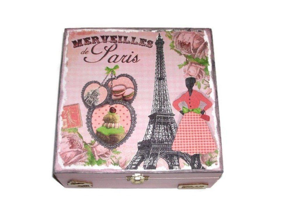 jolie boite à thé romantique Parisienne