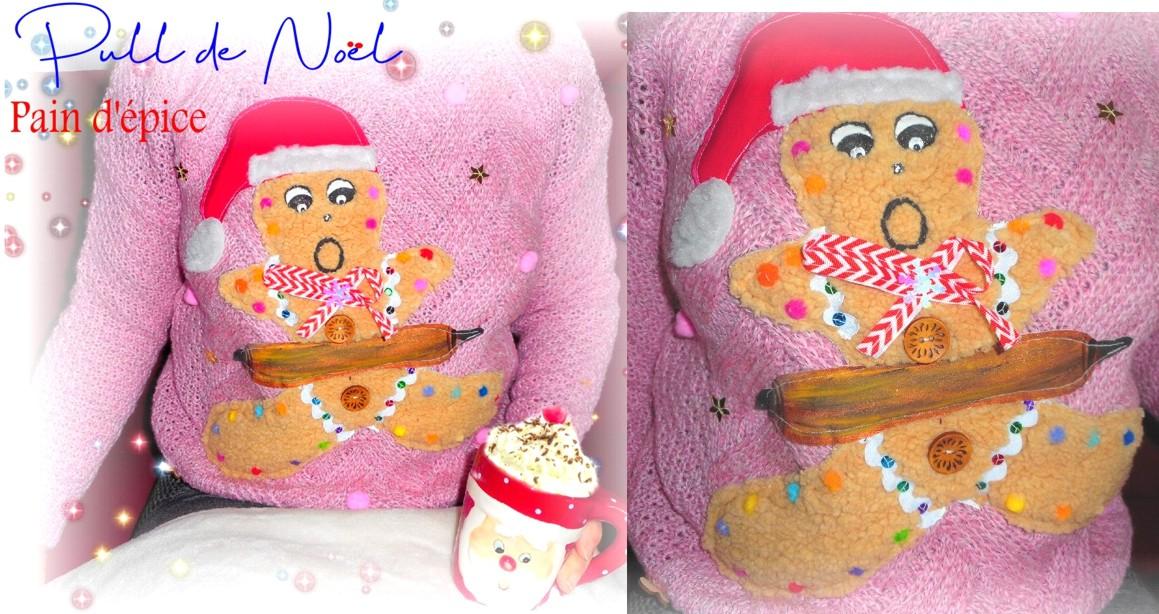joli pull rose femme noel pain d'épice