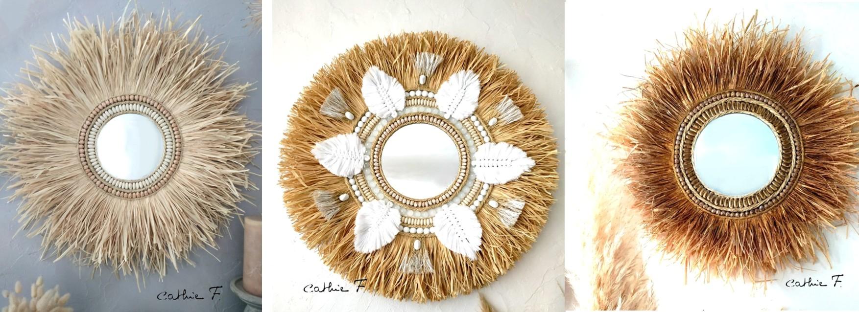 miroir soleil en fibres naturelle décoratif
