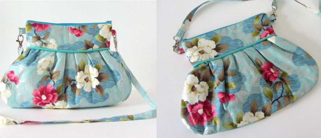 sac Japonais en bandoulière en coton bleu fleuri