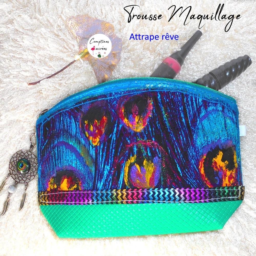 jolie trousse maquilage verte et bleue style ethnique aux motif plumes de paon