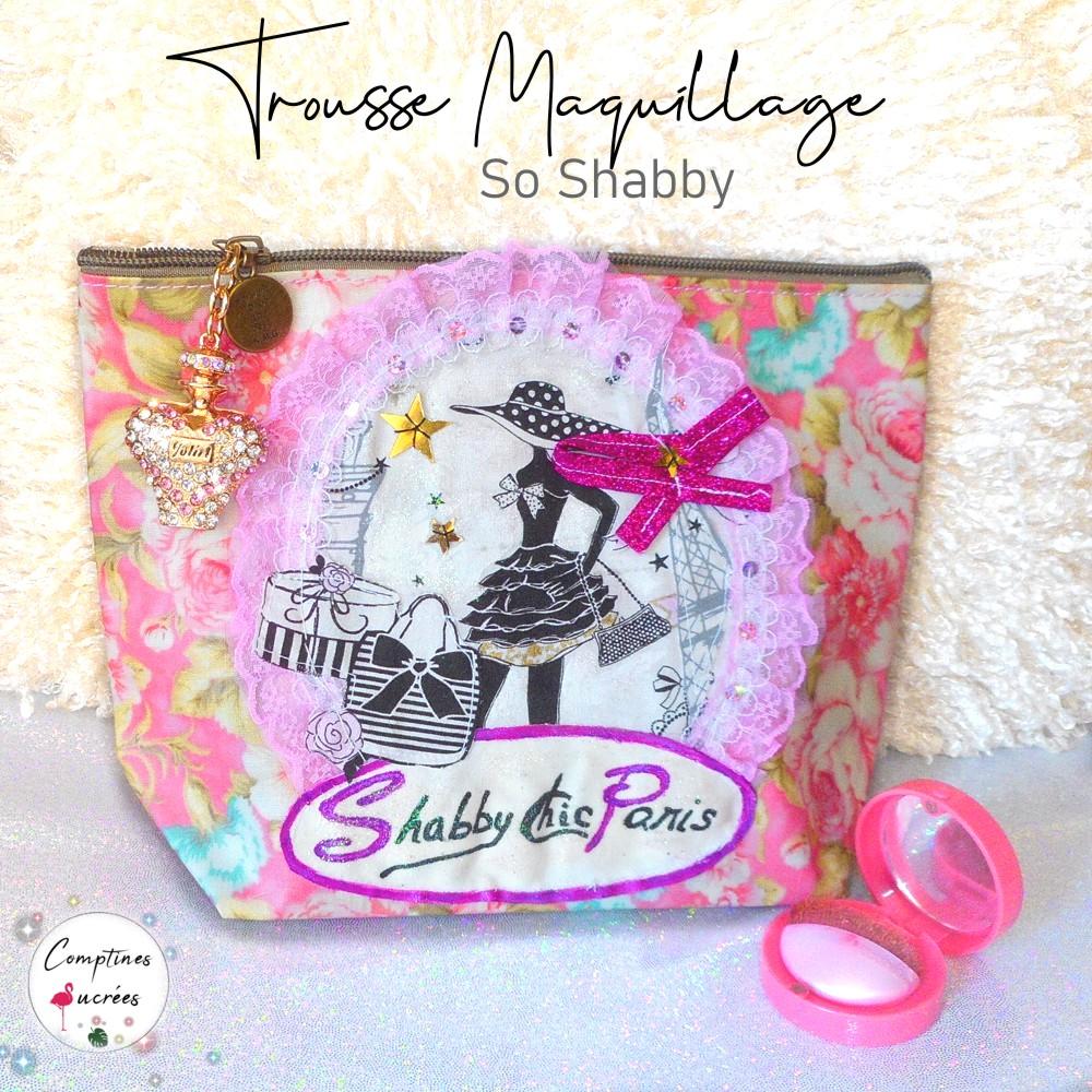 Grande trousse maquillage rose style shabby chic paris avec perles et froufrou