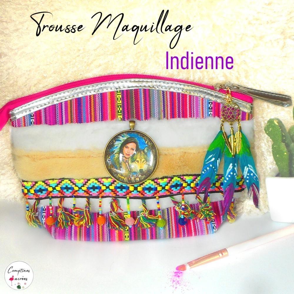 belle trousse maquillage en tissu style ethnique amérindien avec perles et plumes