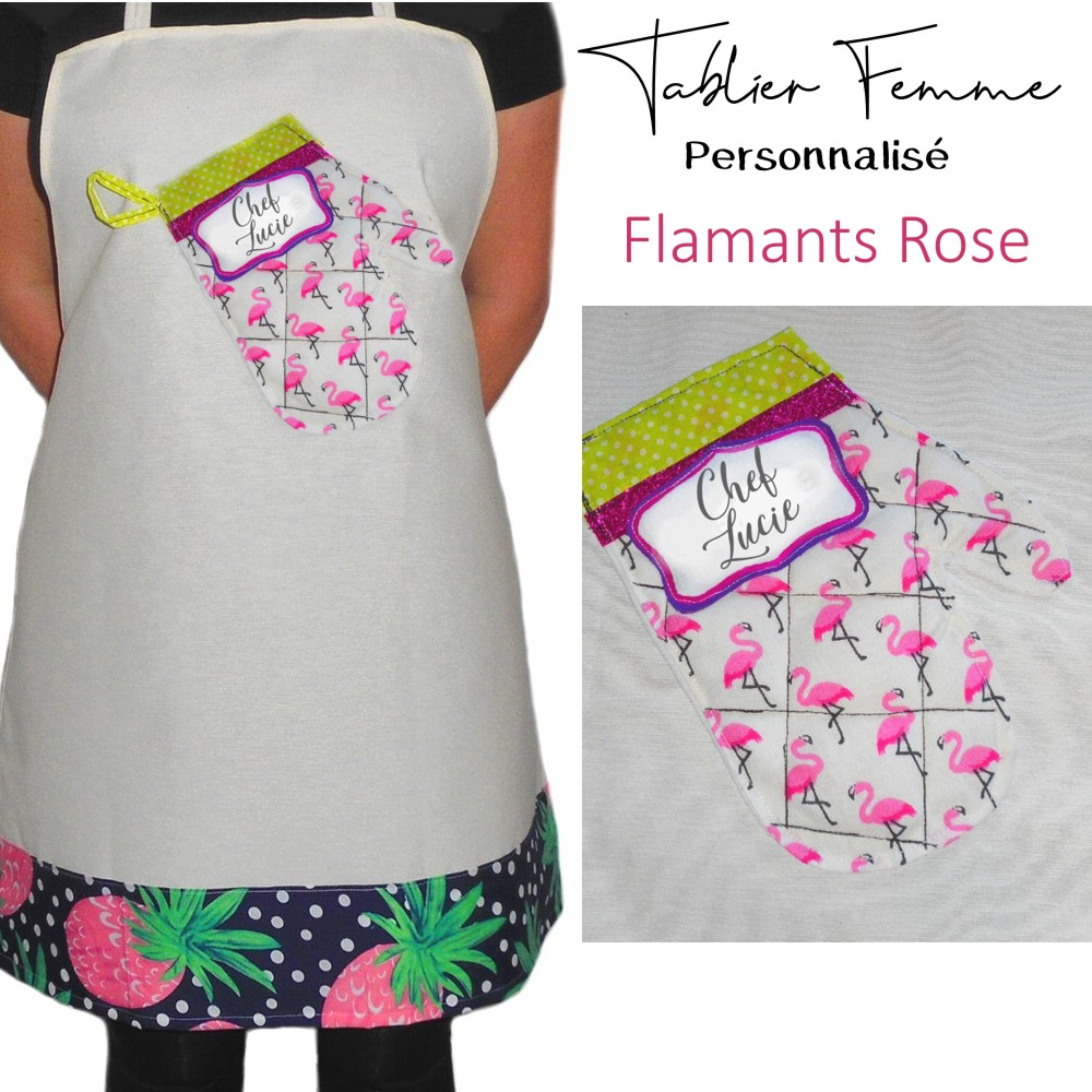 tablier fun femme motif flamant rose