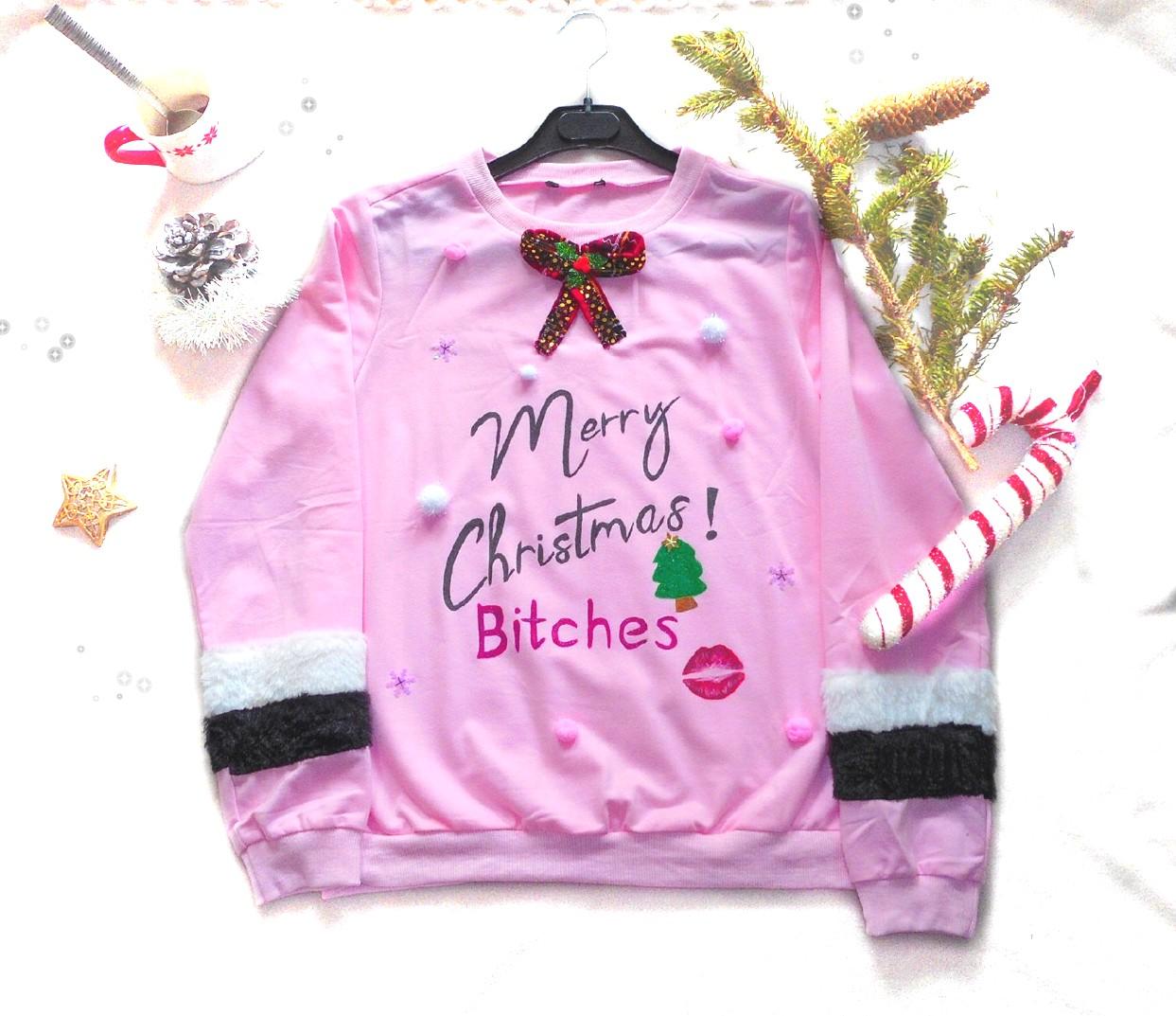 pull de noël femme vulgaire merry christmas bitches