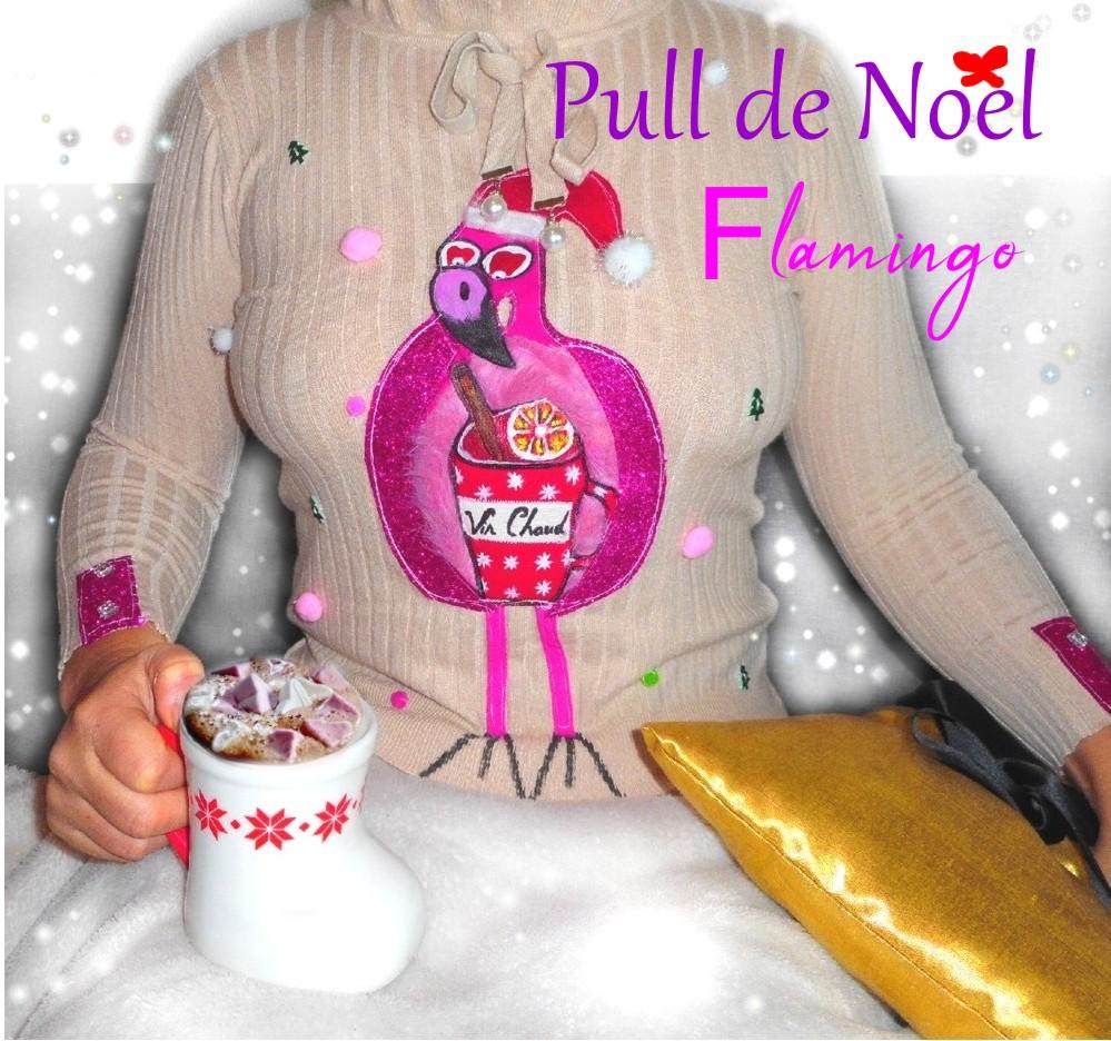 pull femme de noël avec pompons flamingo