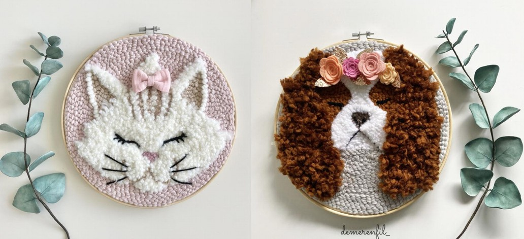 déco chambre enfant tête de chat et chien en laine punch needle