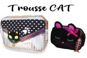 3 superbes trousses de toilette et maquillage très élégantes avec motif chat noir
