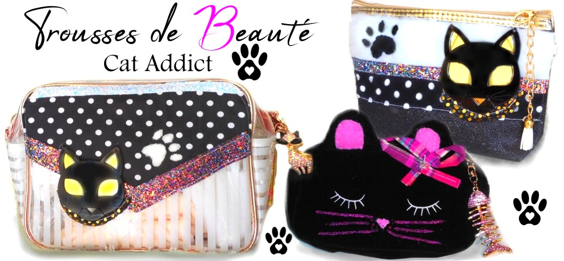 jolie trousse a maquillage chat noir