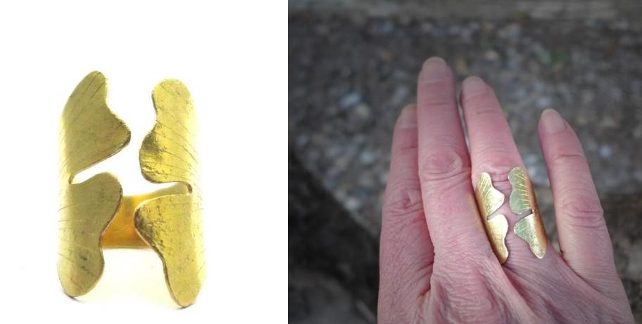 bague dorée élégante en forme de feuille ginkgo