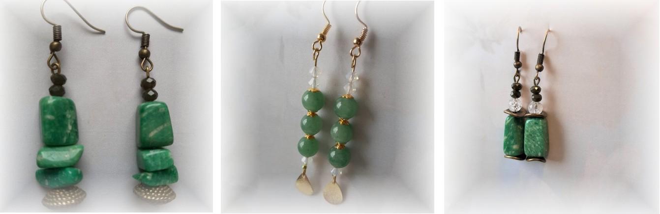 jolies boucles d'oreilles aventurine vert émeraude en pierre