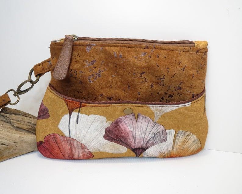 sac bandoulière nature imitation liège avec feuilles ginkgo